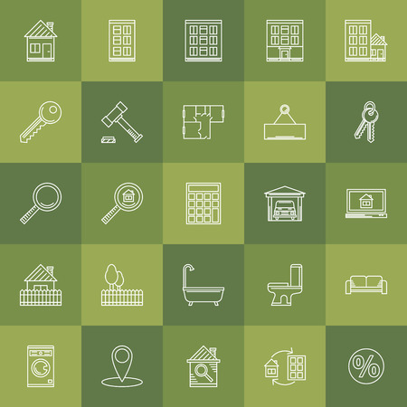 Real estate icons - vector set of symbols or signs in thin line style