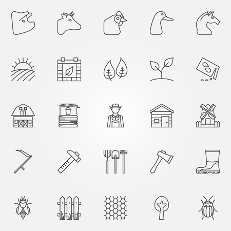 Farm icons set - collection of agriculture, gardening thin line vector symbols or signs