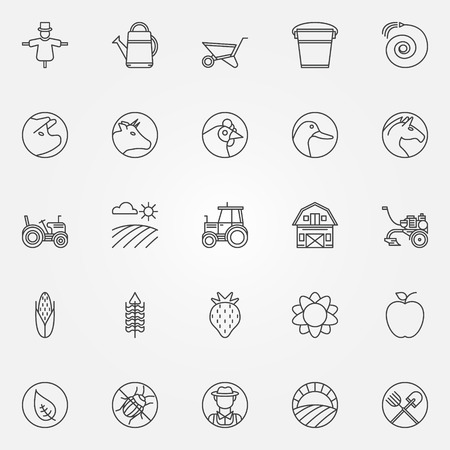 agriculture icon: Farm icons - vector set of thin line farming or gardening symbols or signs