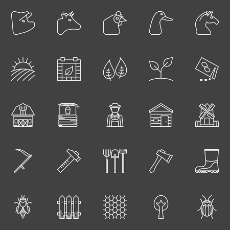 mill valley: Farm icons set - collection of agriculture, gardening thin line vector white symbols on dark background Illustration