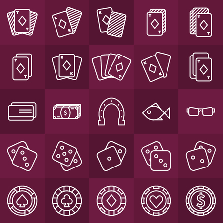 gambling chip: Poker minimal icons set - vector collection of thin line casino or gambling white symbols