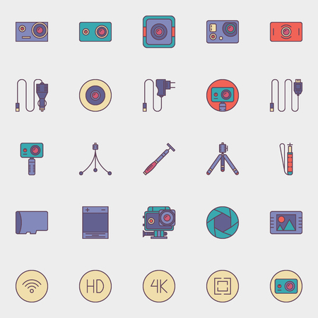 cams: Action camera icons - vector colorful flat set of extreme video action cams and accessories Illustration
