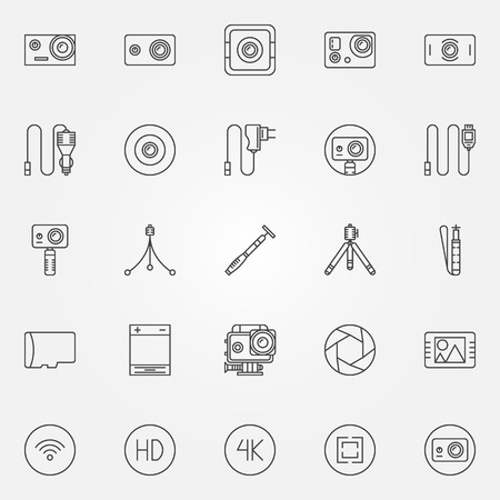 Action Camera set - vector collection of extreme video cams, tripods and cables