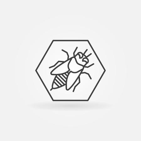 simple logo: Bee in hexagon logo or icon - vector simple symbol Illustration