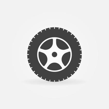 car tire: Car wheel icon or logo - black tire symbol