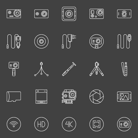pro: Extreme action camera icon set - vector symbols of camera, monopod and other accessories Illustration