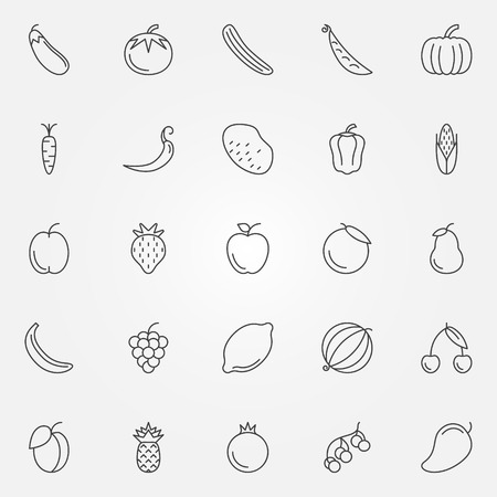 Fruits and vegetables icons set - vector collection of thin line symbols