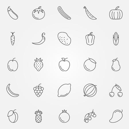 Groenten en fruit pictogrammen instellen - vector verzameling van dunne lijn symbolen Stock Illustratie