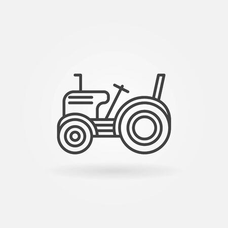simple logo: Mini tractor icon - vector simple logo in thin line style Illustration