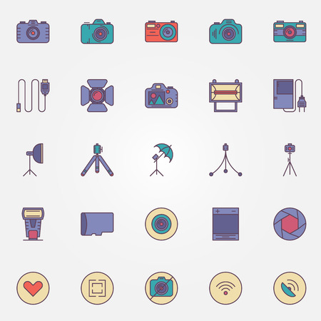 mirrorless camera: Photography colorful icons - vector set of photo camera and accessories symbols
