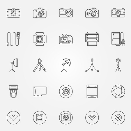 polarizing: Photography icons set - vector collection of camera, tripod, spotlight, softbox and photo accessories symbols in thin line style