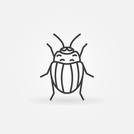 chitin: Potato or Colorado bug icon - vector insect symbol or logo in thin line style