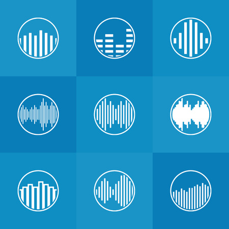 wave icon: Soundwave icon or logo - vector white round music symbols on blue background Illustration