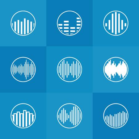 soundwave: Soundwave icon or logo - vector white round music symbols on blue background Illustration