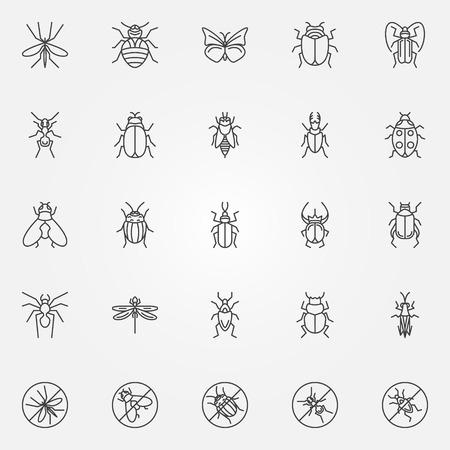 Icônes insectes set - vector collection de bugs symboles dans le style de ligne mince Banque d'images - 43560250
