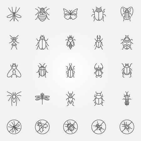 Insect icons set - vector collection of bugs symbols in thin line style