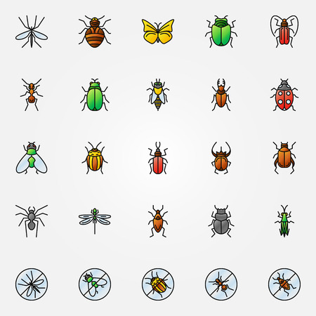 animals collection: Colorful insects icons - vector collection of beetle, spider, fly, tick and other insect symbols or logo