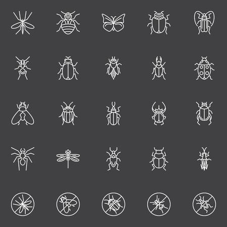 Insekten-Icons Set - Vektor-Sammlung von Bugs, Fliegen und Käfer in Linienstil auf dunklem Hintergrund