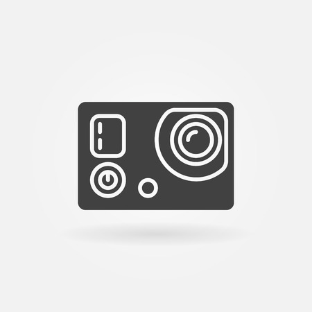 fullhd: Action camera icon - vector black extreme video digital cam symbol