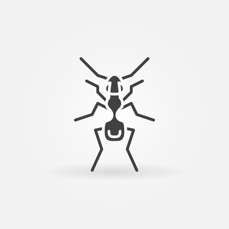 Ant icon or logo - vector simple black insect symbol