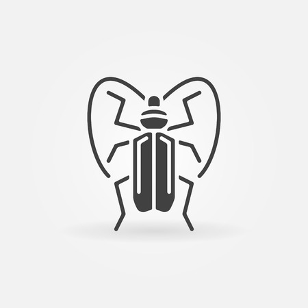 simple logo: Bug or beetle icon - vector black simple insect symbol or logo Illustration