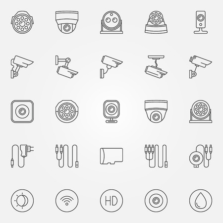 home video camera: Home security cameras icons - vector CCTV cameras symbols set in thin line style