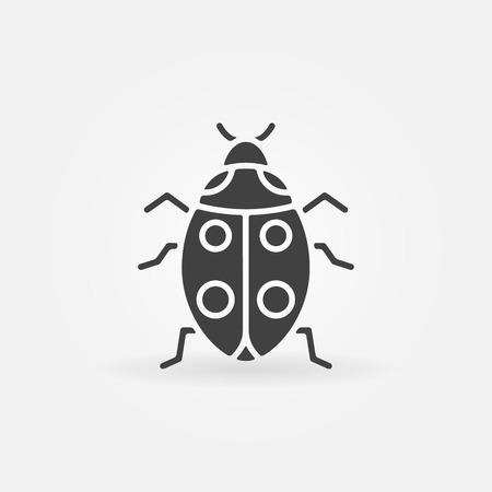 simple logo: Ladybug icon or logo - vector simple black symbol Illustration