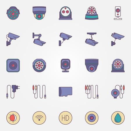 ip camera: Surveillance cameras icon set - vector collection of outdoor security cameras and accessories colorful pictograms Illustration
