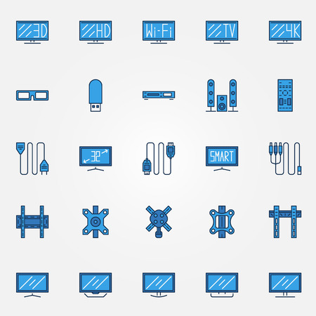 flat screen tv: TV icons set - blue vector flat screen TV and accessories thin line symbols Illustration