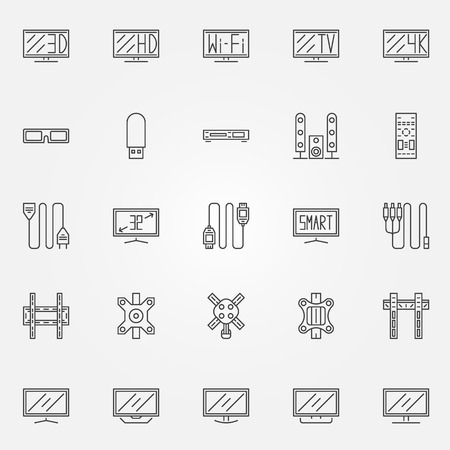 flat screen tv: TV icons set - vector collection of flat screen TV and accessories thin line symbols Illustration