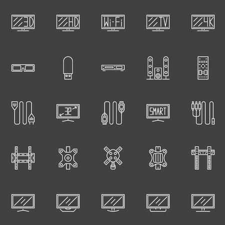 flat screen tv: Iconos de l�nea de TV - vector conjunto de TV de pantalla plana, soporte de pared y s�mbolos de cable en el fondo oscuro Vectores