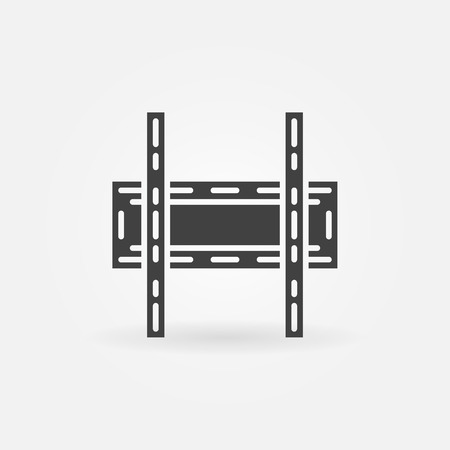 TV wall bracket icon or logo - black vector symbol 免版税图像 - 43491640