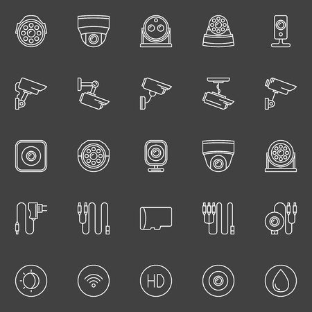 Video surveillance cameras icons - vector symbols set