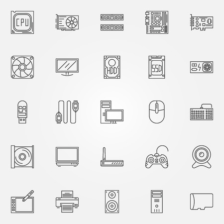 Computer icons set - vector PC symbols of CPU, motherboard, RAM, video card, HDD, SSD, keyboard, power unit, webcam and other components in thin line style Ilustração