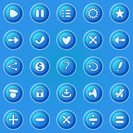 dev: Blue round buttons for game UI - vector set of buttons for game development