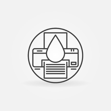 recycle icon: Cartridge refill logo or icon - vector printer symbol in thin line style Illustration