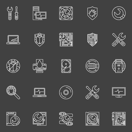 lcd monitor printer: Computer repair icons - vector symbols of PC service in thin line style