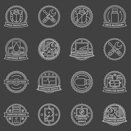 Computer repair and data recovery labels - vector computer service badges on dark background Illustration