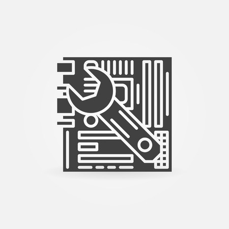 computer repair: Computer service or repair - vector icon with wrench and motherboard