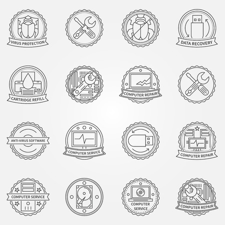 data recovery: Computer service or repair badges and labels - vector antivirus protection, data recovery icons