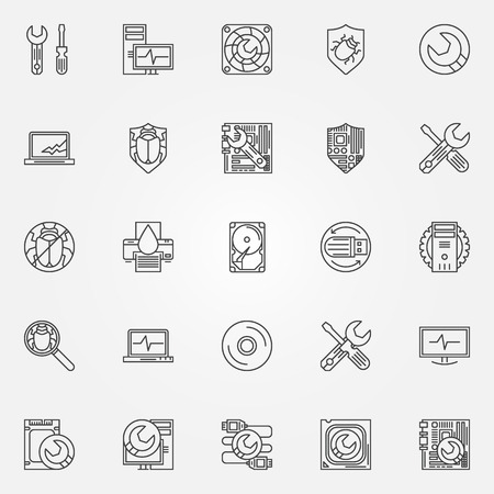 computer virus protection: Computer service icons - vector symbols of PC repair and anti-virus software