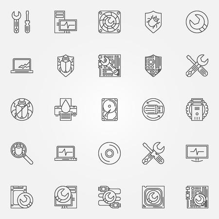 Computer service icons - vector symbols of PC repair and anti-virus software 免版税图像 - 43930566