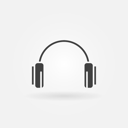 Headphone icon or logo - vector black music symbol