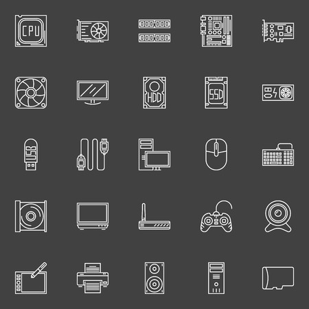 ssd: Computer components icons - vector collection of PC symbols of CPU, RAM, Motherboard, HDD, SSD, Printer, Speaker and other computer accessories