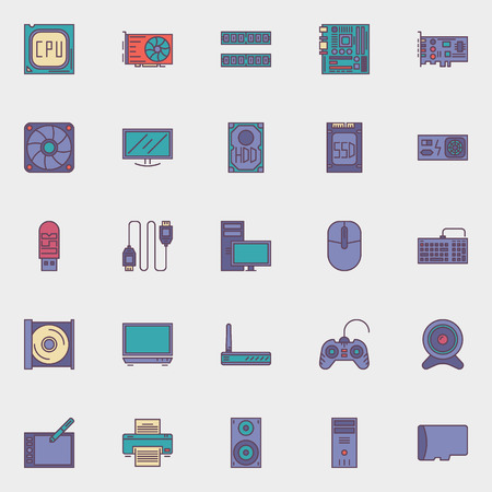 computer icons: Computer hardware icons set - vector collection of flat PC components symbols