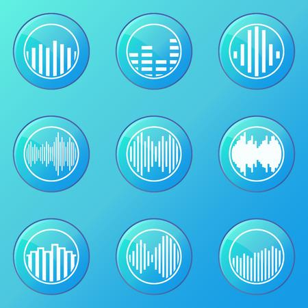 soundwave: Soundwave icons - vector set of blue music symbols or buttons
