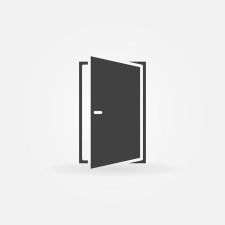 Door icon or logo - vector black open door symbol