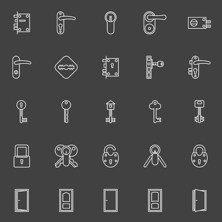 key in door: Vector collection of door, key, door lock icons - white thin line symbols
