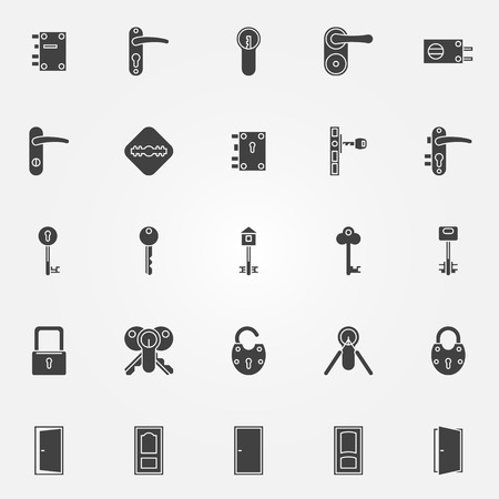 Door lock icons - vector black symbols of keys, doors and locks Çizim