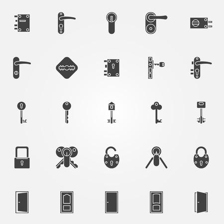 Icone serratura della porta - vettore simboli neri di chiavi, porte e serrature Archivio Fotografico - 43939448